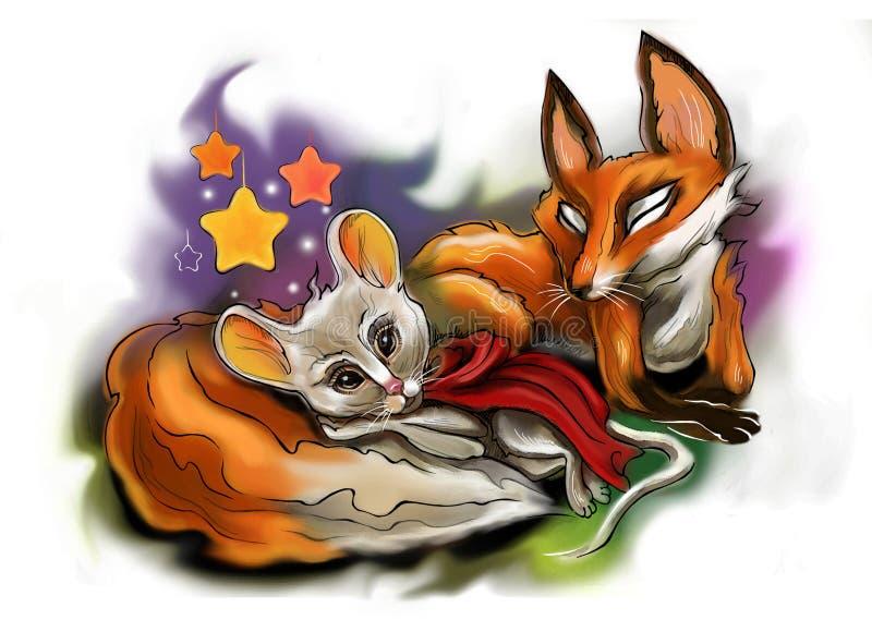 Мышь спать и Fox стоковые фотографии rf