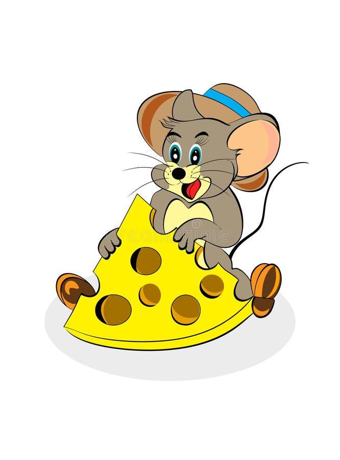 мышь сыра счастливая изолированная иллюстрация вектора