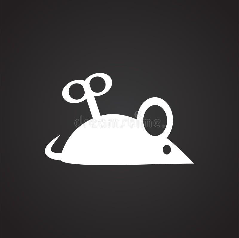 Мышь clockwork кота любимца на черной предпосылке для графика и веб-дизайна, современного простого знака вектора интернет принцип иллюстрация вектора