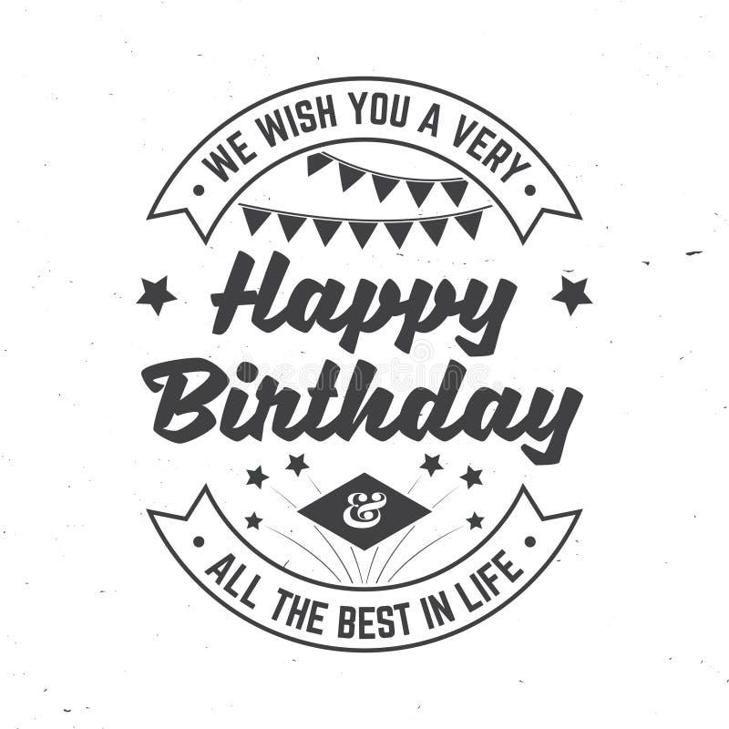 Мы желаем вам очень с днем рождения Все самое лучшее в жизни Значок, карта, с фейерверком и флагами овсянки вектор Винтаж бесплатная иллюстрация