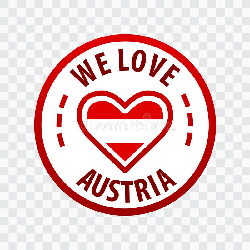 Мы любим значок Австрии Изолированный на прозрачной предпосылке иллюстрация вектора
