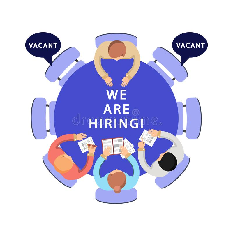 Мы нанимаем иллюстрацию HR, концепция вектора рекрутства иллюстрация штока