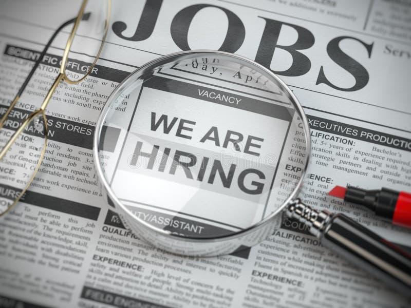 Мы нанимаем Поиск работы и концепция занятости Увеличиванное стекло с работами расклассифицировало объявления в газете иллюстрация штока