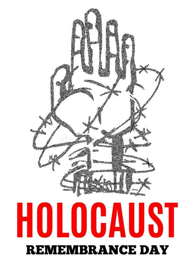 Мы никогда не будем забывать День памяти погибших в первую и вторую мировые войны холокоста Желтая звезда Дэвид Международный ден бесплатная иллюстрация