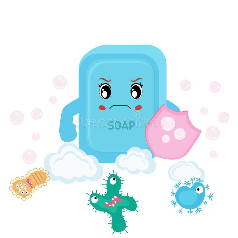Мыло и бактерии, который побежали прочь бесплатная иллюстрация