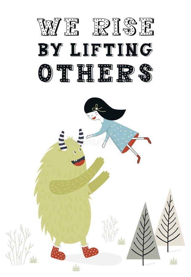 Мы поднимаем путем поднимать другие - уникально плакат питомника с девушкой и извергом Иллюстрация вектора в скандинавском стиле бесплатная иллюстрация