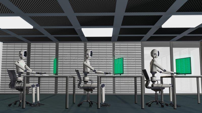 Мы роботы, роботы работая в офисе бесплатная иллюстрация