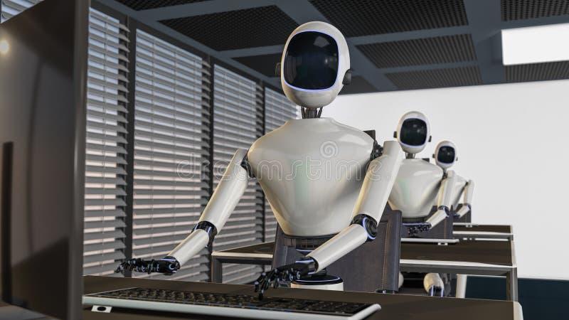 Мы роботы, роботы работая в офисе иллюстрация вектора