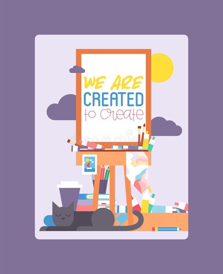 Мы созданы для создания на мольберте Образование, концепция наслаждения Карандаши, акварель, crayons Кот лежа и спать иллюстрация штока