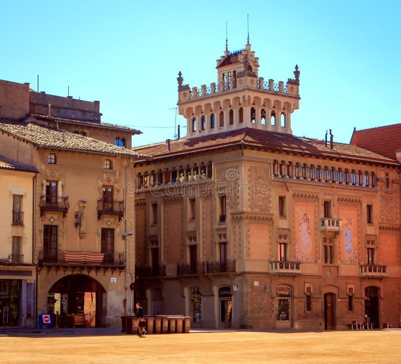 Мэр площади, Vic, Испания стоковые фотографии rf