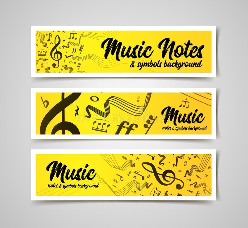 Мюзикл ударяет иллюстрацию вектора с примечаниями и символами музыки иллюстрация вектора