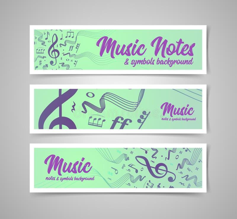 Мюзикл ударяет иллюстрацию вектора с примечаниями и символами музыки бесплатная иллюстрация