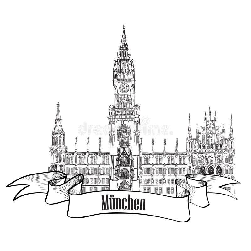 Мюнхен, Германия.  Иллюстрация ярлыка перемещения иллюстрация вектора