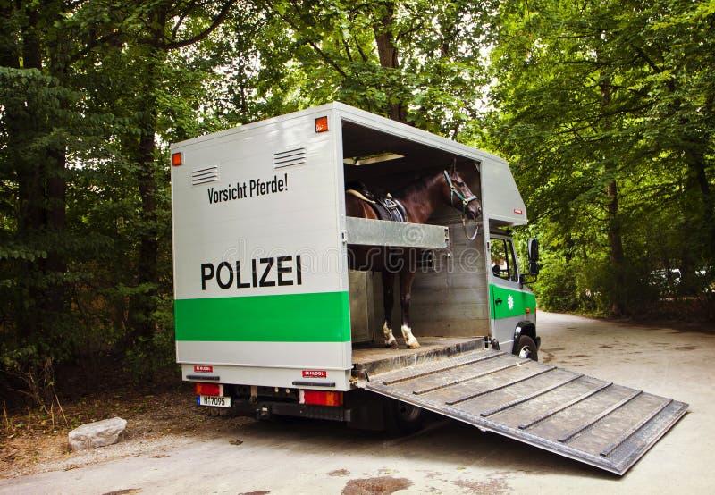 Мюнхен Германия - полиция перевозит на грузовиках при лошадь припаркованная на угле e стоковое фото rf