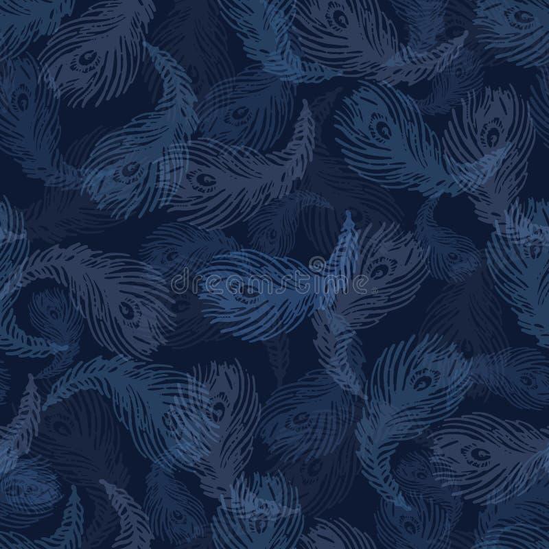 Мягкая картина вектора пера птицы павлина безшовная Индиго покрашенное рукой бесплатная иллюстрация