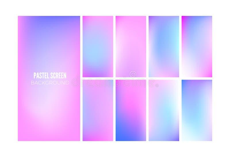 Мягкая предпосылка градиента в цветах hologram Дизайн обоев для мобильного приложения r иллюстрация вектора