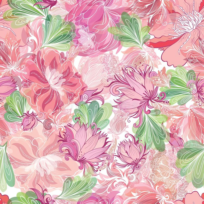 Мягкая романтичная картина вектора с цветками лилии и лотоса бесплатная иллюстрация