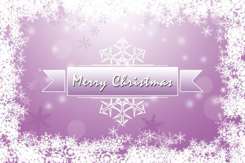 Мягкая фиолетовая с Рождеством Христовым поздравительная открытка с снежинками иллюстрация штока