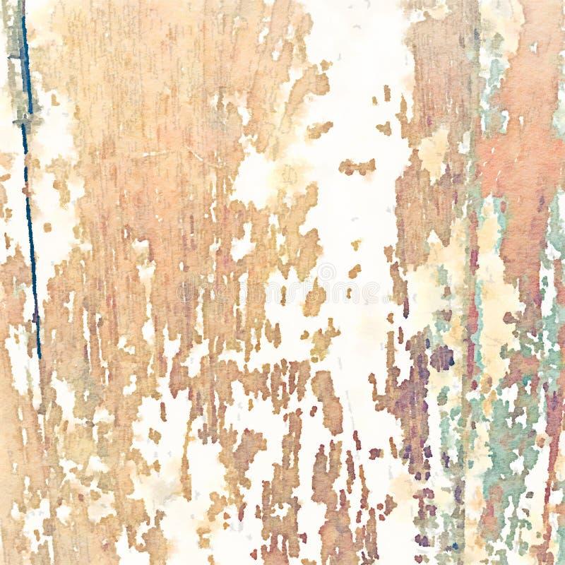 Мягкая grungy предпосылка акварели с деревянной текстурой зерна иллюстрация вектора