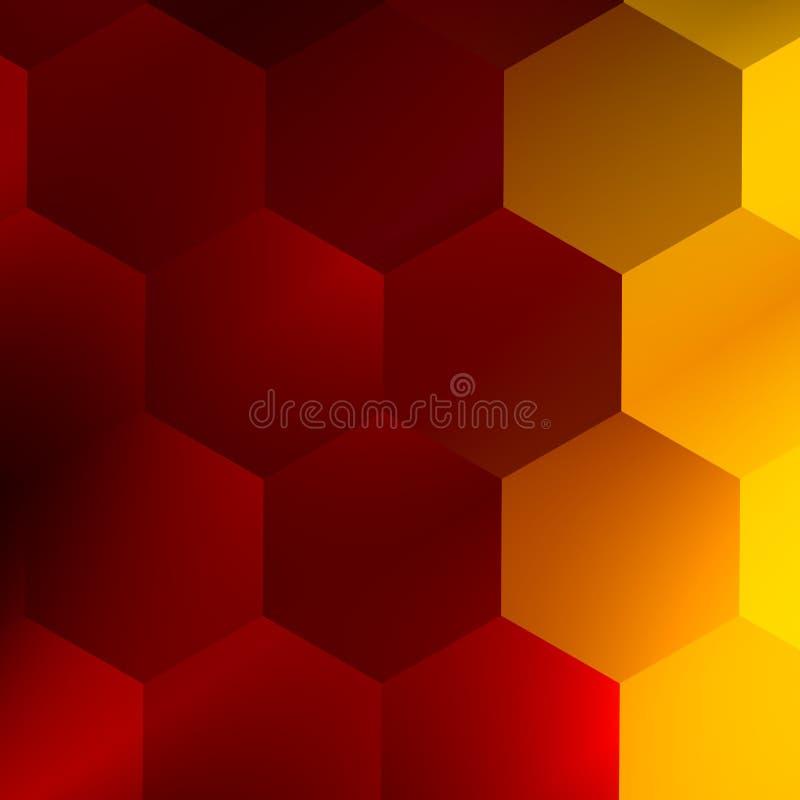 Мягкие красные желтые шестиугольники абстрактная предпосылка самомоднейшая Иллюстрация элегантного искусства Творческая плоская т иллюстрация вектора