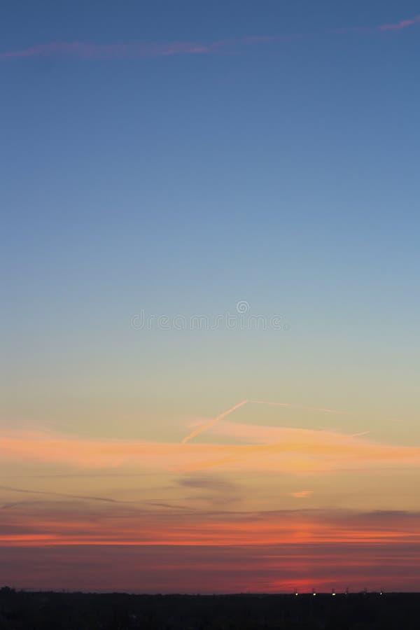 Мягкий розовый заход солнца стоковое изображение rf