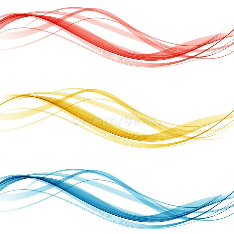 Мягкий яркий красочный комплект плана границы сети красивого современного собрания заголовка волны swoosh также вектор иллюстраци бесплатная иллюстрация