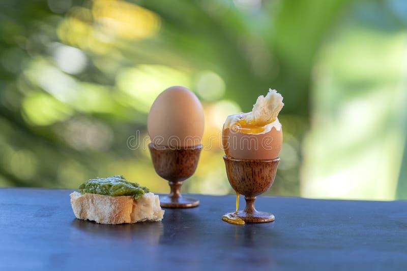 Мягкое вареное яйцо в рюмке для яйца с куском провозглашанного тост хлеба на деревянном столе в предпосылке природы, крупном план стоковое изображение