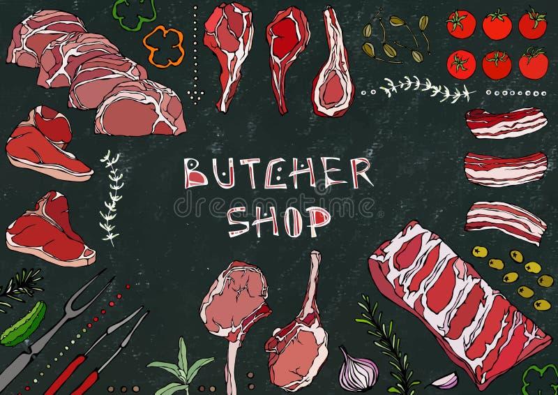 Мясная лавка Отрезки мяса - говядина, свинина, овечка, стейк, бескостный оковалок, жаркое нервюр, поясница и отбивные котлеты нер иллюстрация вектора