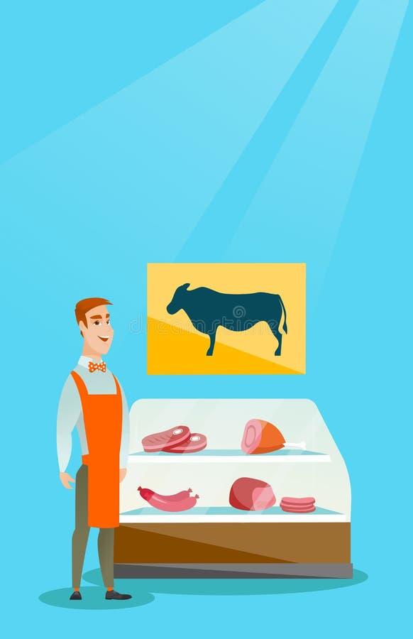 Мясник предлагая свежее мясо в мясной лавке иллюстрация вектора