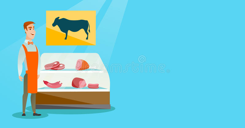 Мясник предлагая свежее мясо в мясной лавке иллюстрация штока