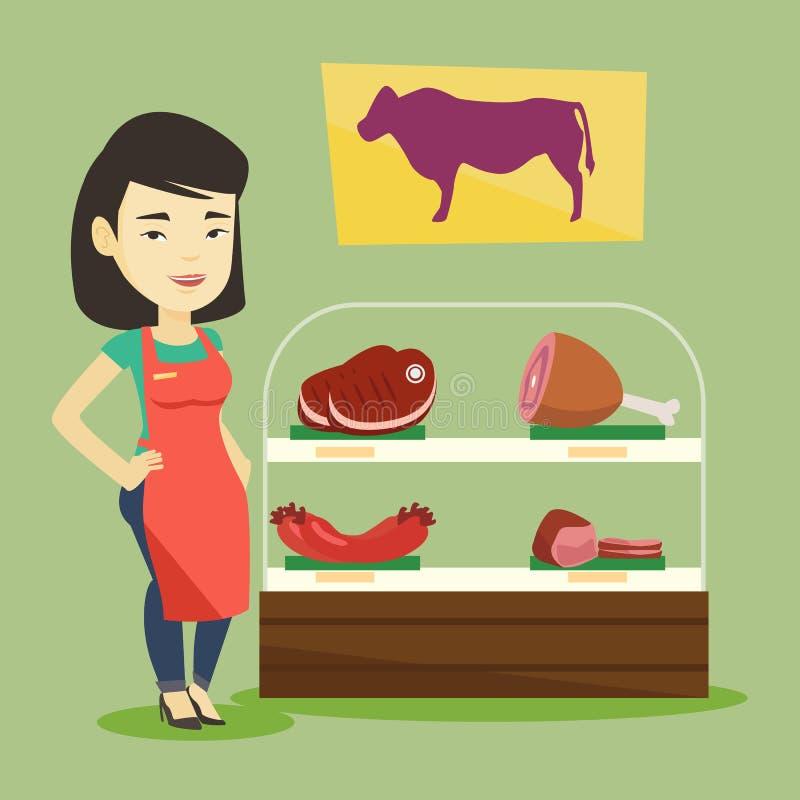 Мясник предлагая свежее мясо в butchershop бесплатная иллюстрация
