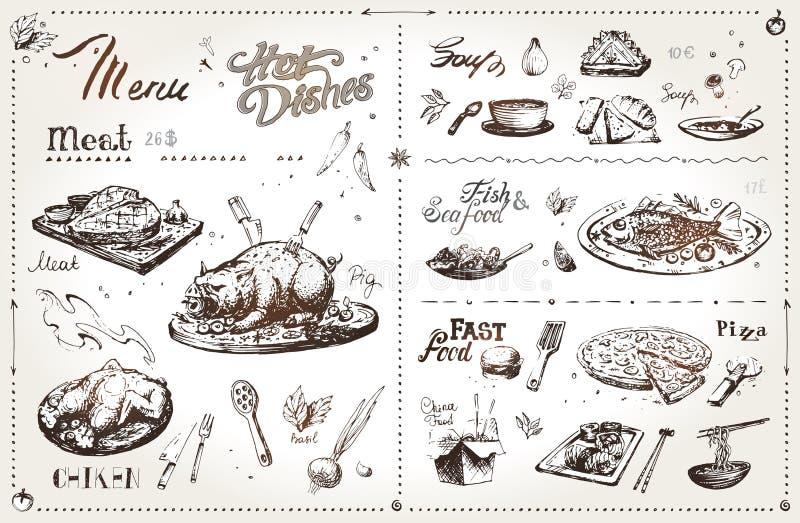 Мясные блюда руки вычерченные для дизайна меню вектор бесплатная иллюстрация