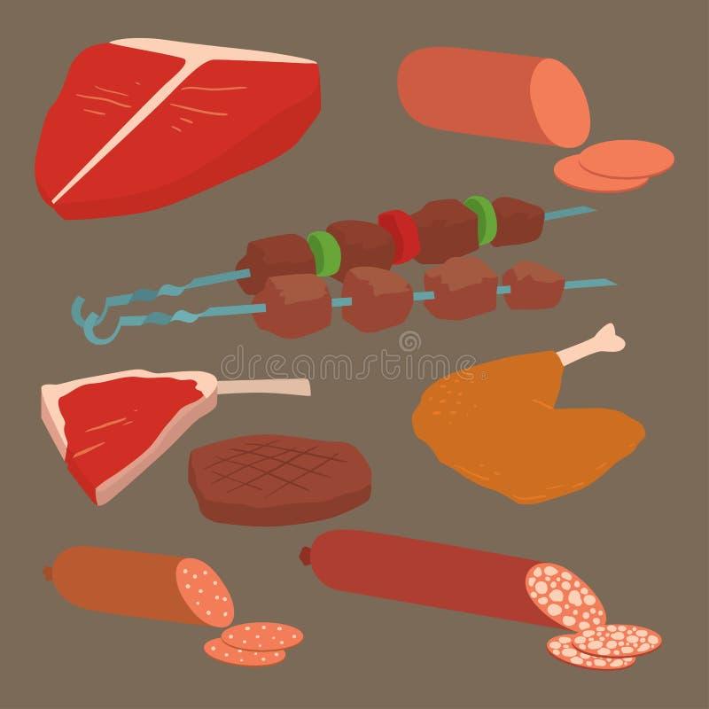 Мясные продукты установленные разнообразия kebab барбекю шаржа ассортимента еды и животного очень вкусного очень вкусного изыскан иллюстрация штока