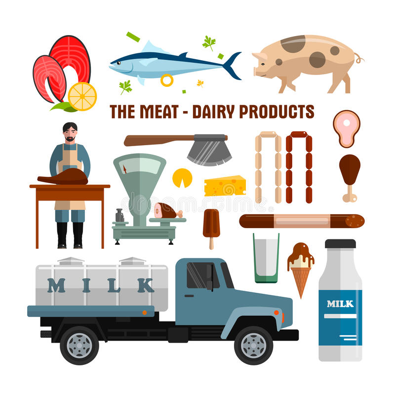 Мясо и молочные продучты vector объекты на белой предпосылке Элементы дизайна еды, значки в плоском стиле иллюстрация вектора