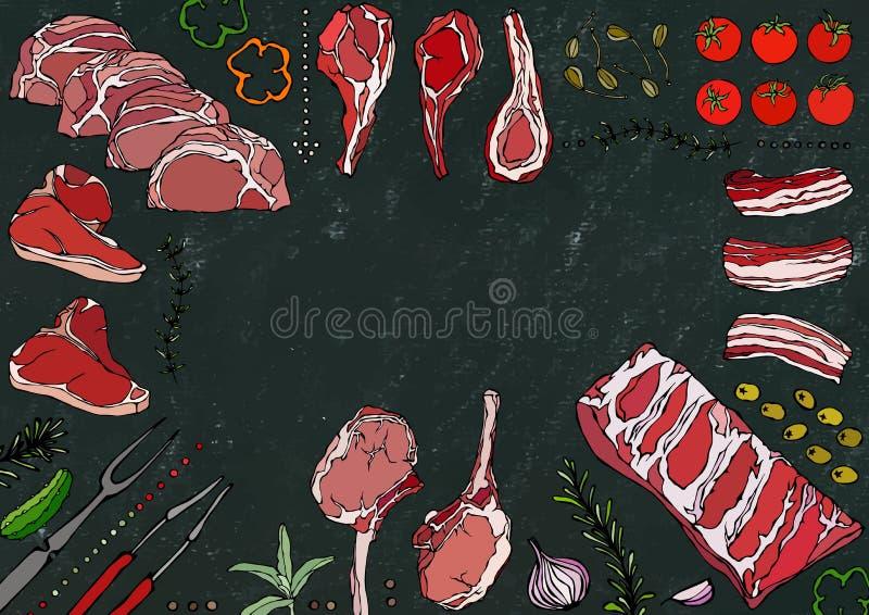 Мясо режет ассортимент - говядину, свинину, овечку, стейк, бескостный оковалок, жаркое нервюр, поясницу и отбивные котлеты нервюр иллюстрация вектора