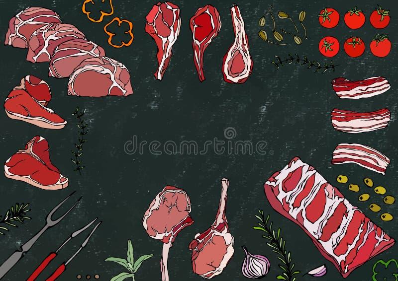 Мясо режет ассортимент - говядину, свинину, овечку, стейк, бескостный оковалок, жаркое нервюр, поясницу и отбивные котлеты нервюр иллюстрация штока