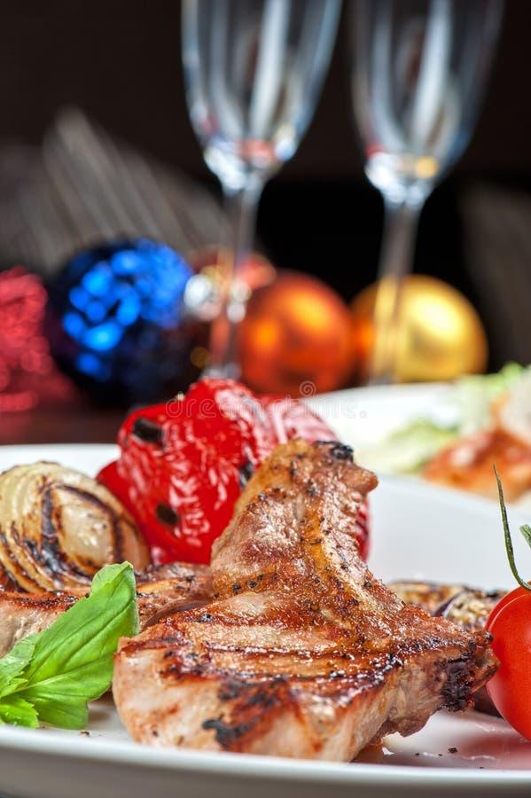 Мясо с овощем стоковое изображение