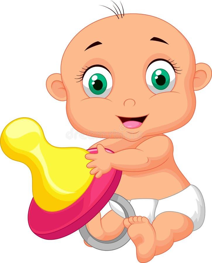 Младенец держа pacifier бесплатная иллюстрация