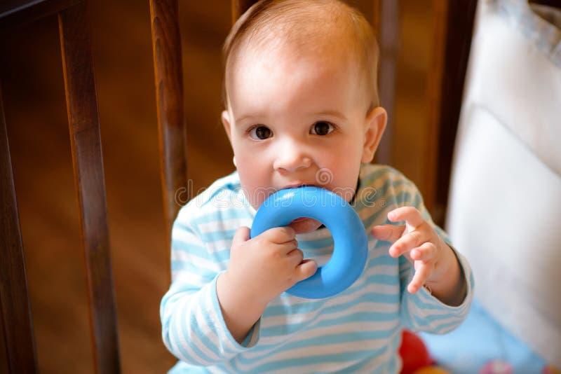 Младенец жуя игрушку в шпаргалке стоковое изображение
