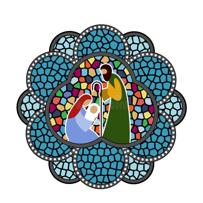 Младенец Иисус орнамента цветного стекла иллюстрация вектора