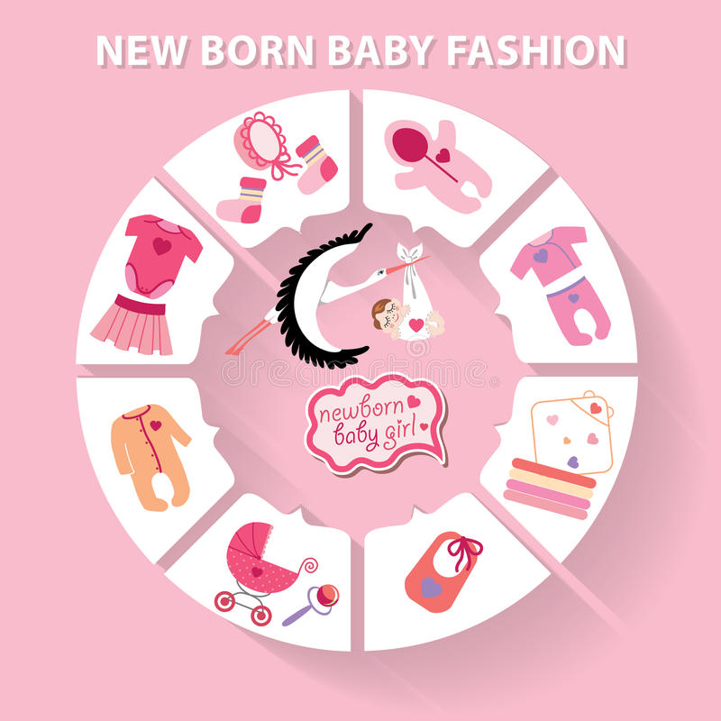 Младенец круга infographic Игрушки ребёнка новорожденного иллюстрация вектора