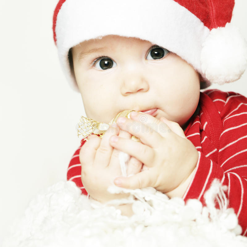 Младенец, милый счастливый ребенок, крупный план стороны стоковое изображение