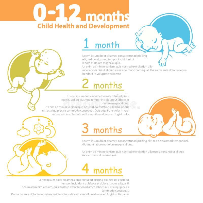 Младенец растя вверх infographic иллюстрация штока