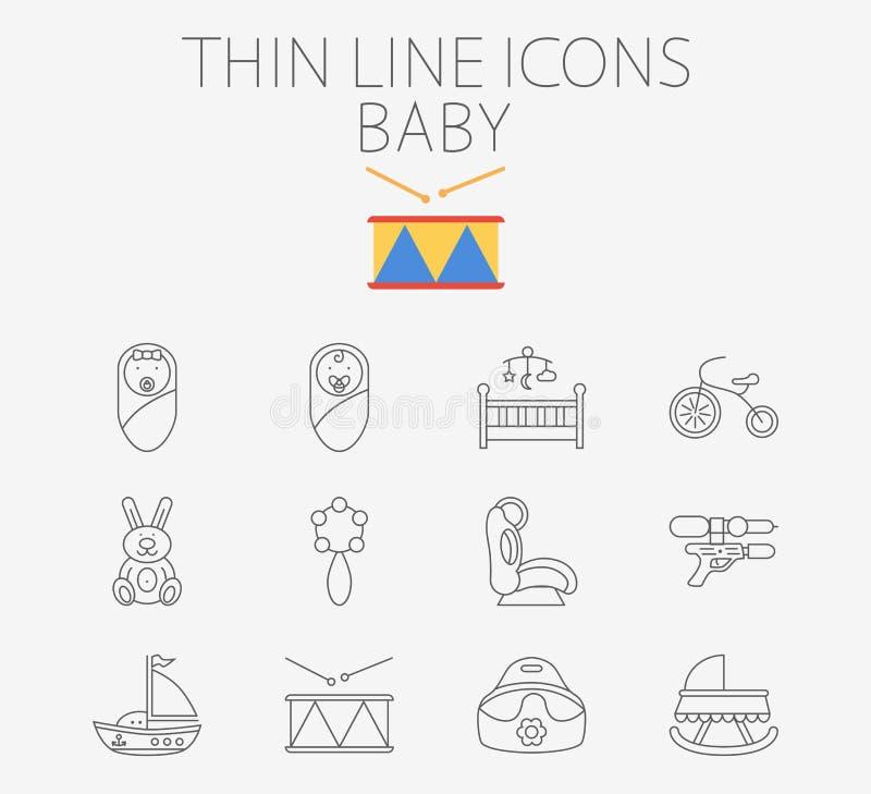 Младенец связал плоский комплект значка вектора иллюстрация штока