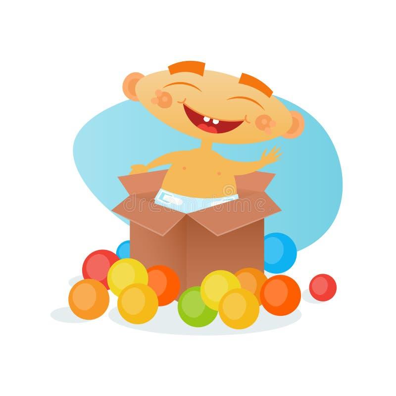 Младенец шаржа милого малыша ребёнка жизнерадостного счастливый в пеленке иллюстрация штока