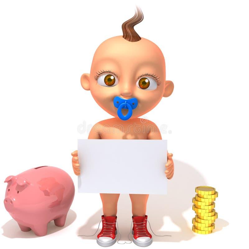 Младенец Jake с копилкой и монетками бесплатная иллюстрация