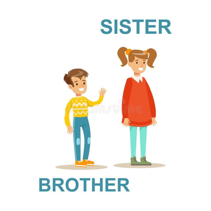 Младший брат и более старая сестра, счастливая семья имея иллюстрацию полезного времени работы совместно иллюстрация вектора