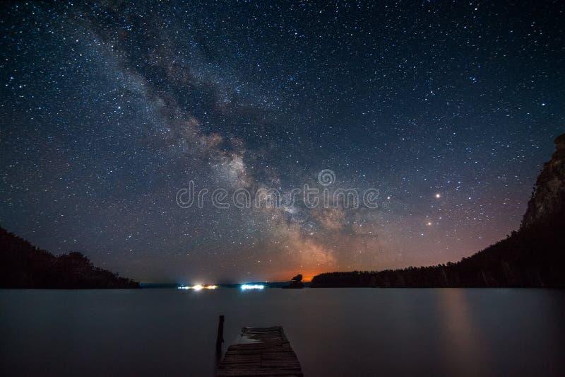 Млечный путь над озером стоковая фотография