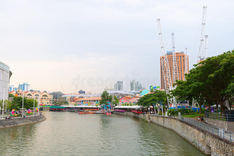Набережная Кларка историческая набережная берега реки в Сингапуре стоковые изображения rf