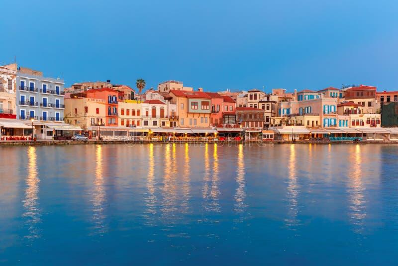 Набережная ночи венецианская, Chania, Крит стоковое изображение rf